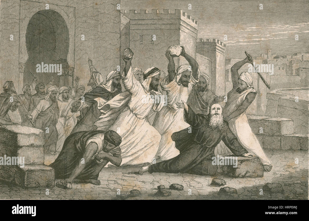 Ramon Llull Stoned to Death by Muslims - Stock Image