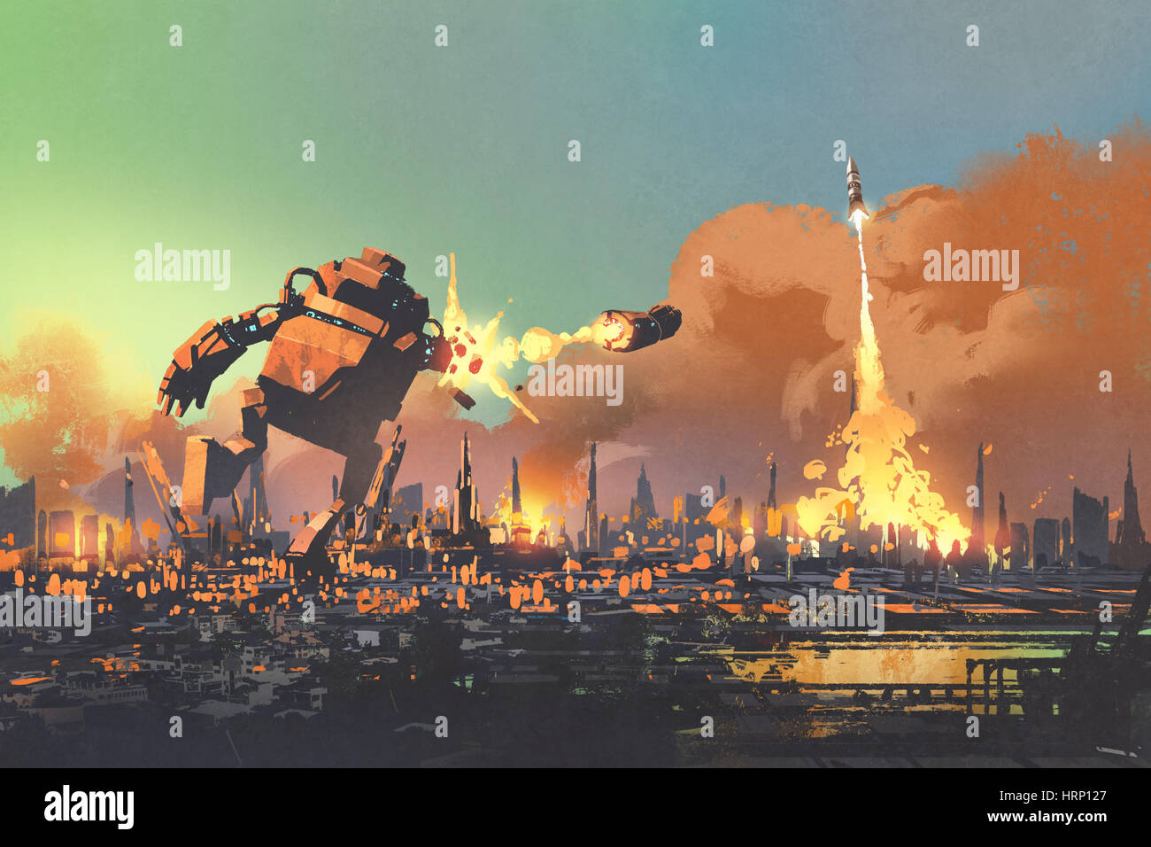 the giant robot launching rocket punch destroy the city,illustration painting - Stock Image