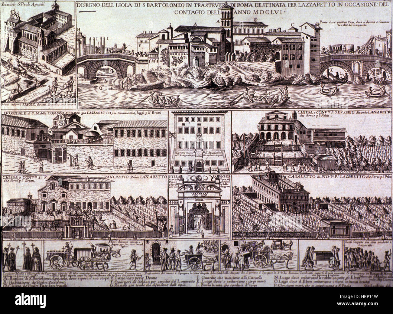 Rome Plague, 1656 - Stock Image