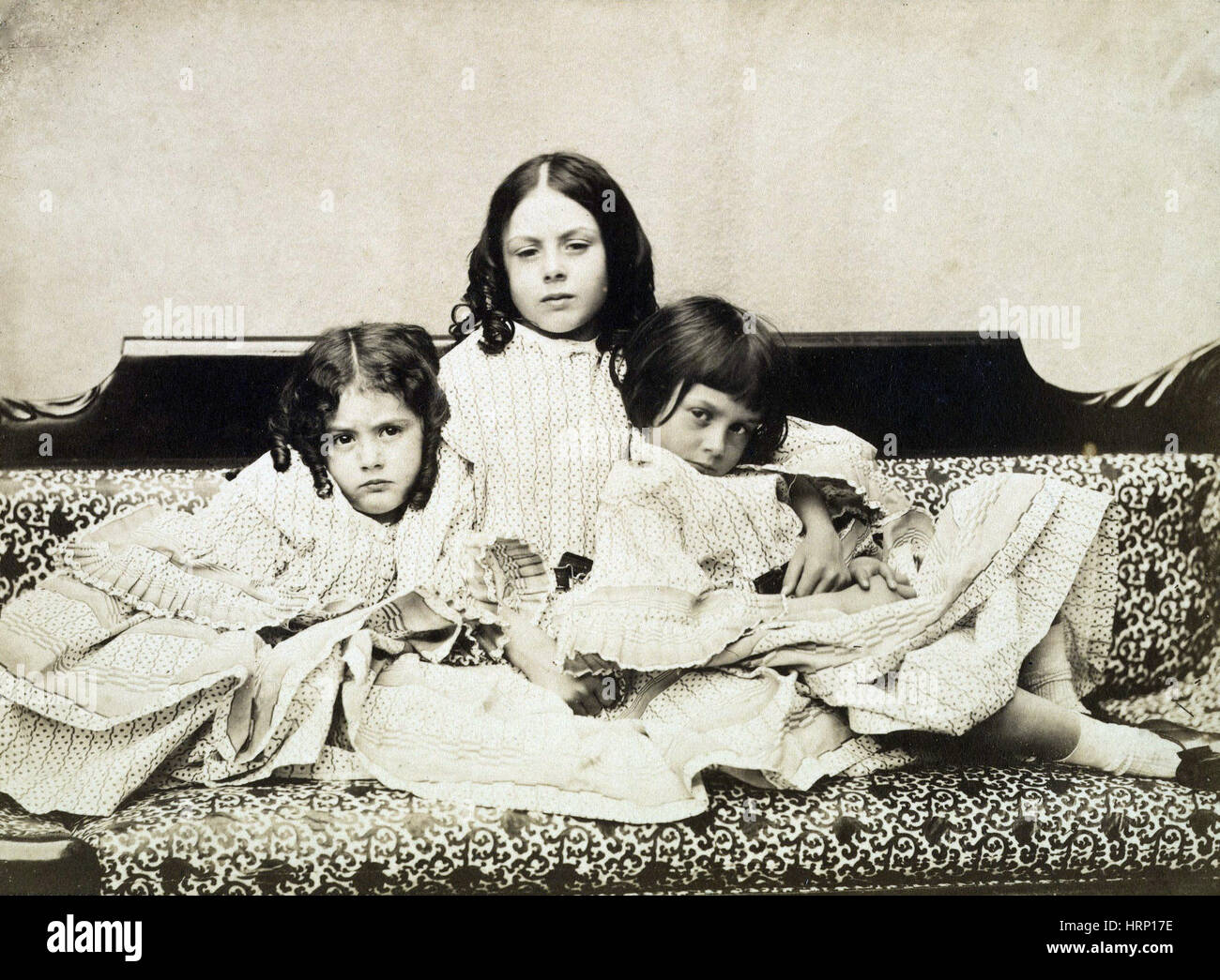 Edith, Ina and Alice Liddell, 1858 - Stock Image