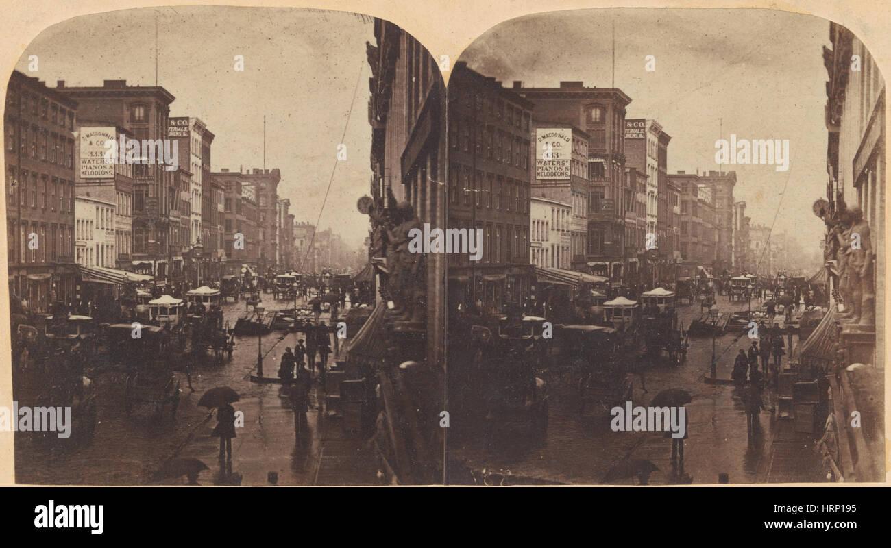 Broadway, NYC, 1860s - Stock Image
