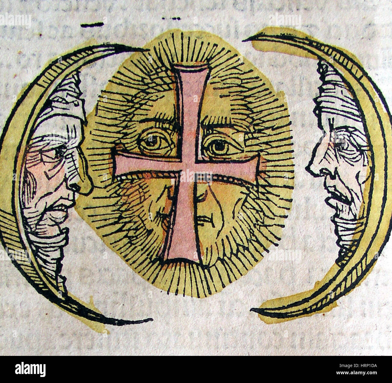 Three Moons, Nuremberg Chronicle, 1493 - Stock Image