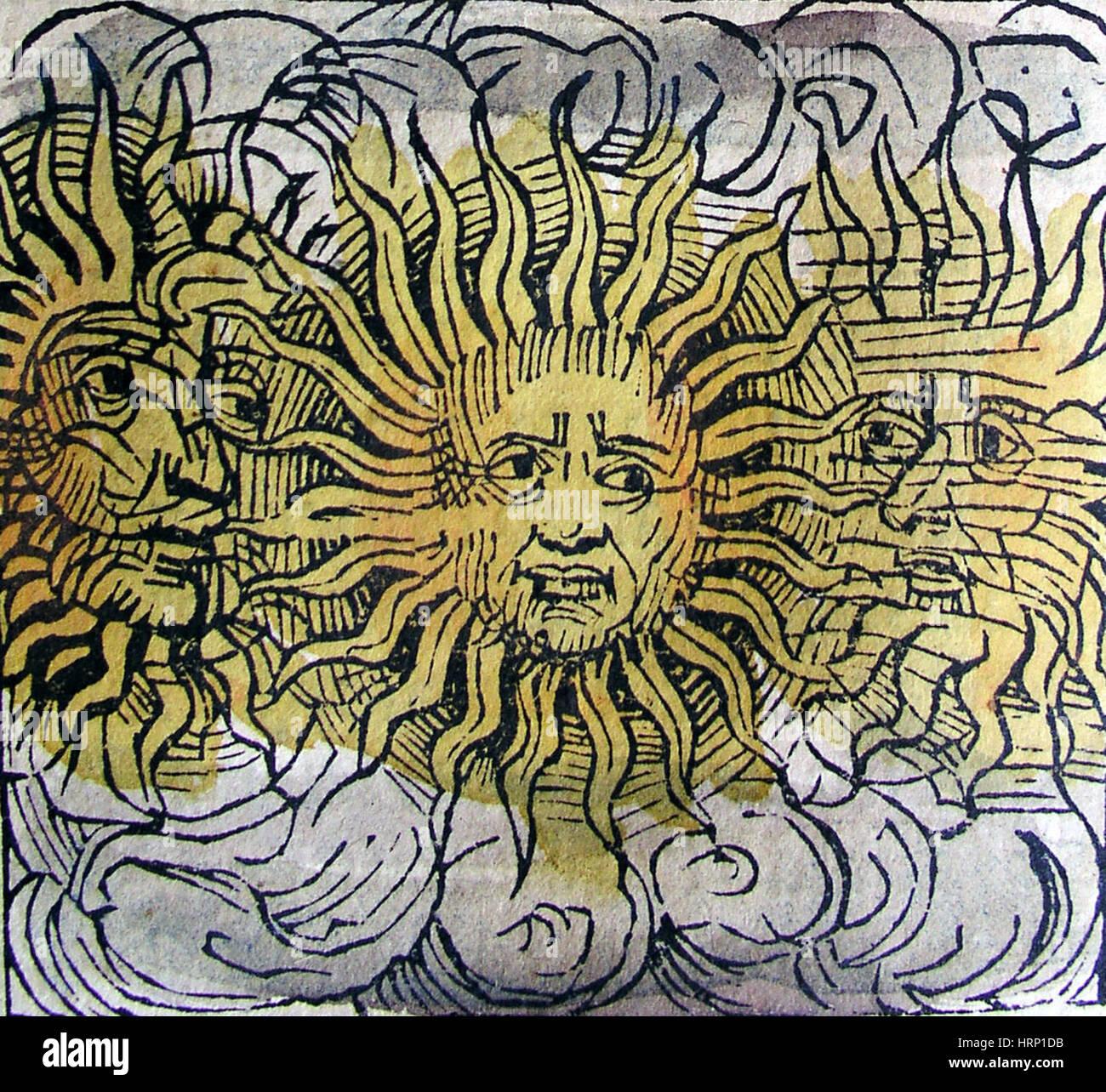 Three Suns, Nuremberg Chronicles, 1493 - Stock Image