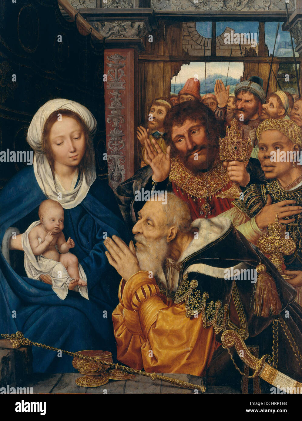 Adoration of the Magi by Quentin Metsys - Stock Image
