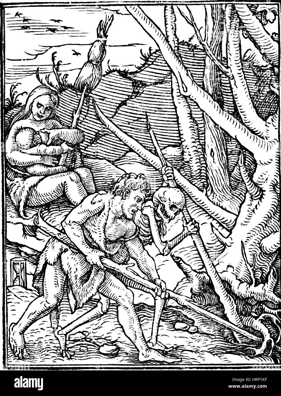 Adam Ploughing by Hans Holbein the Younger - Stock Image