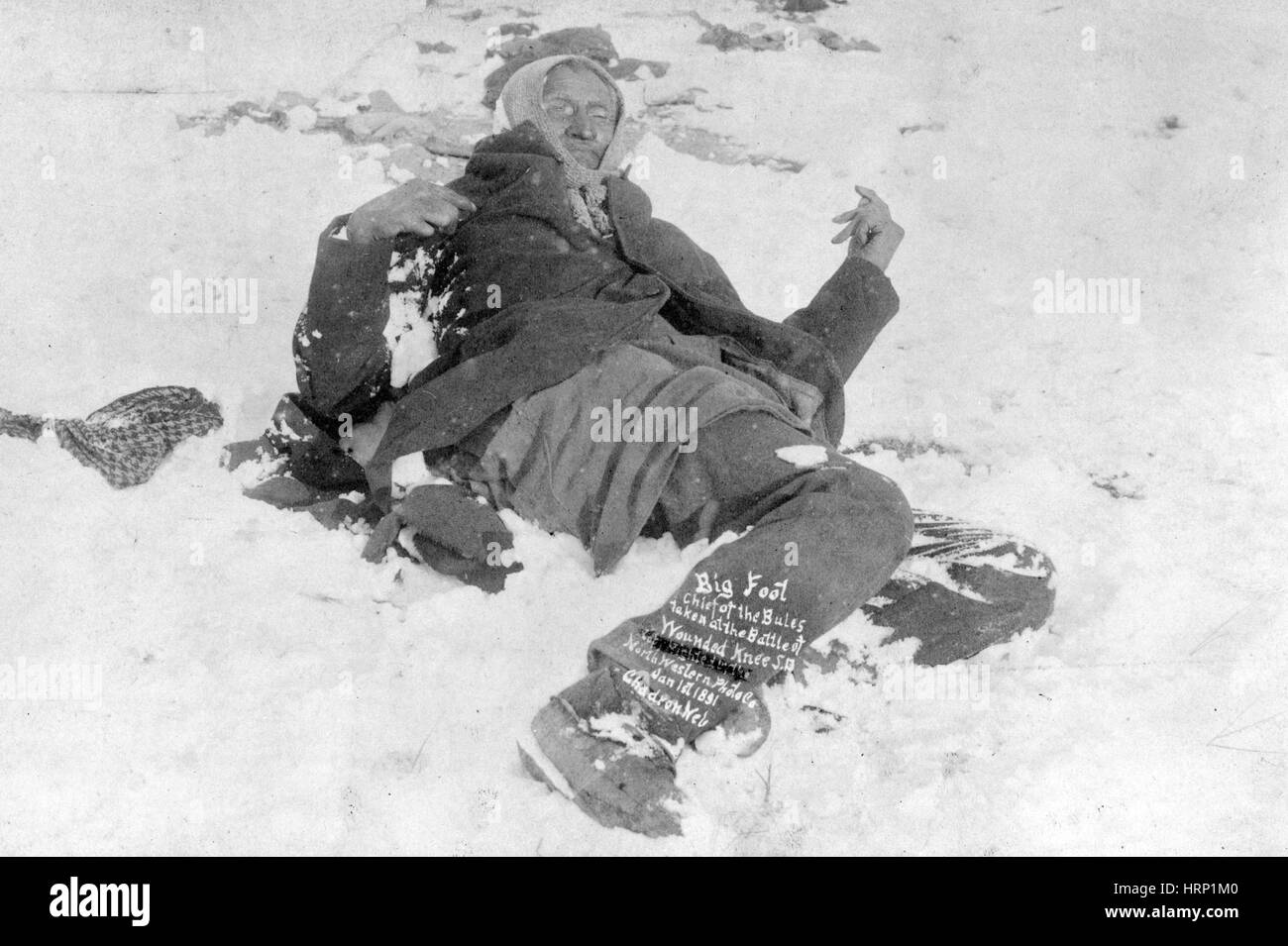Spotted Elk's Body, Wounded Knee Massacre, 1890 Stock Photo