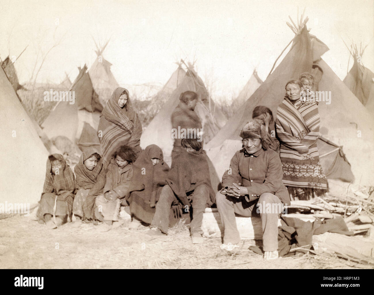 Survivors of Wounded Knee Massacre, 1891 Stock Photo