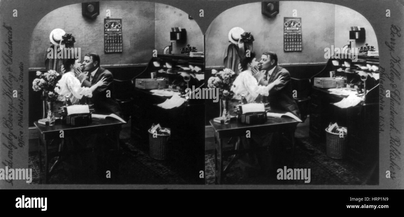 Office Romance, 1907 Stock Photo
