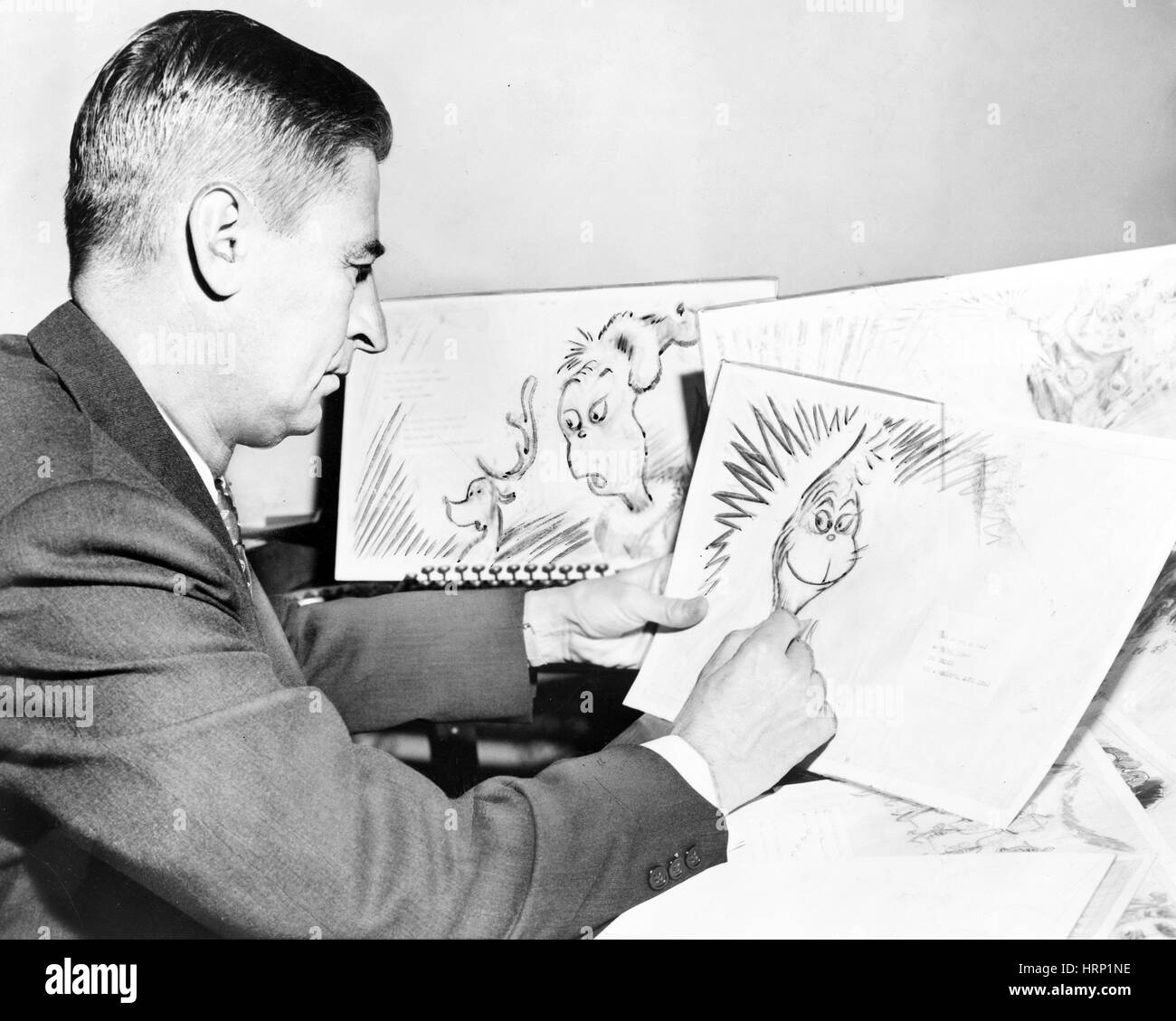 Dr. Seuss Drawing the Grinch, 1957 Stock Photo
