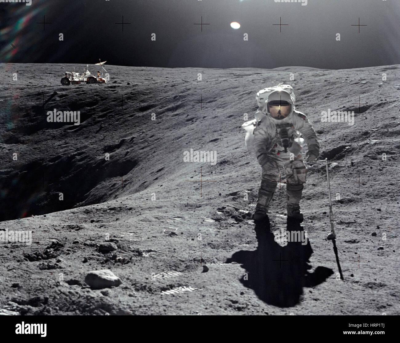 Apollo 16, Astronaut Duke at Plum Crater, 1972 - Stock Image