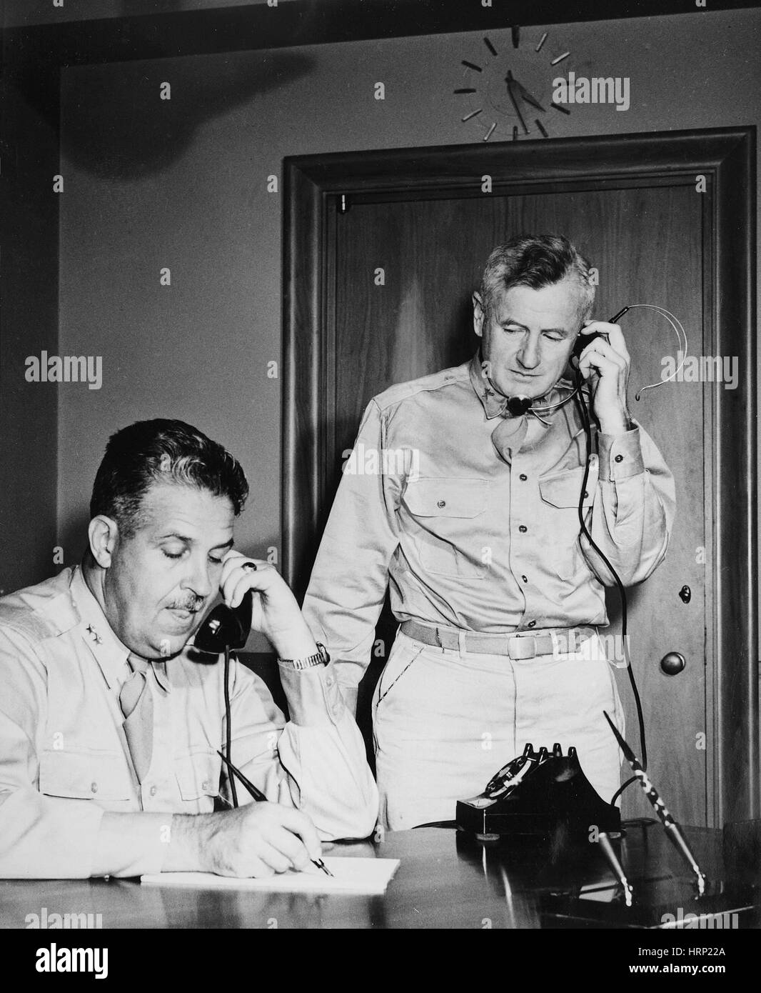 Generals Groves and Farrell, 1945 - Stock Image