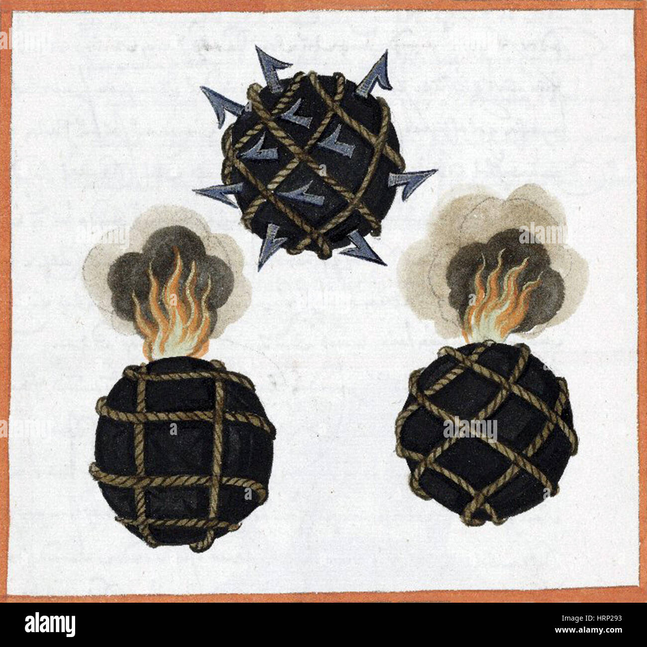 Firebombs, Incendiary Weapons, 1607 - Stock Image