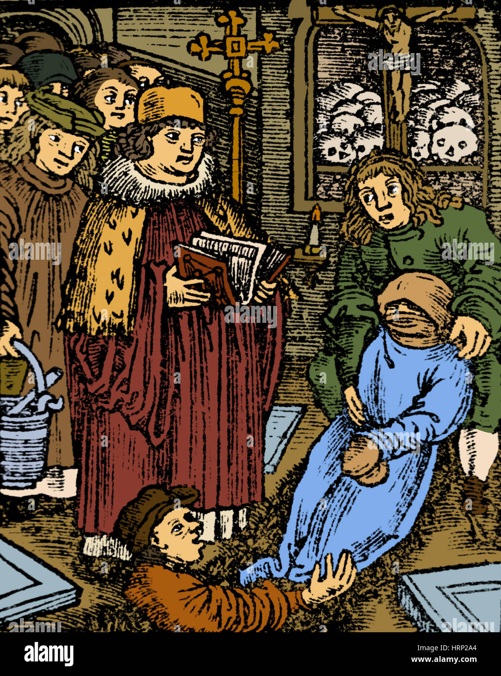 Black Death Plague Victim, Medieval Funeral - Stock Image