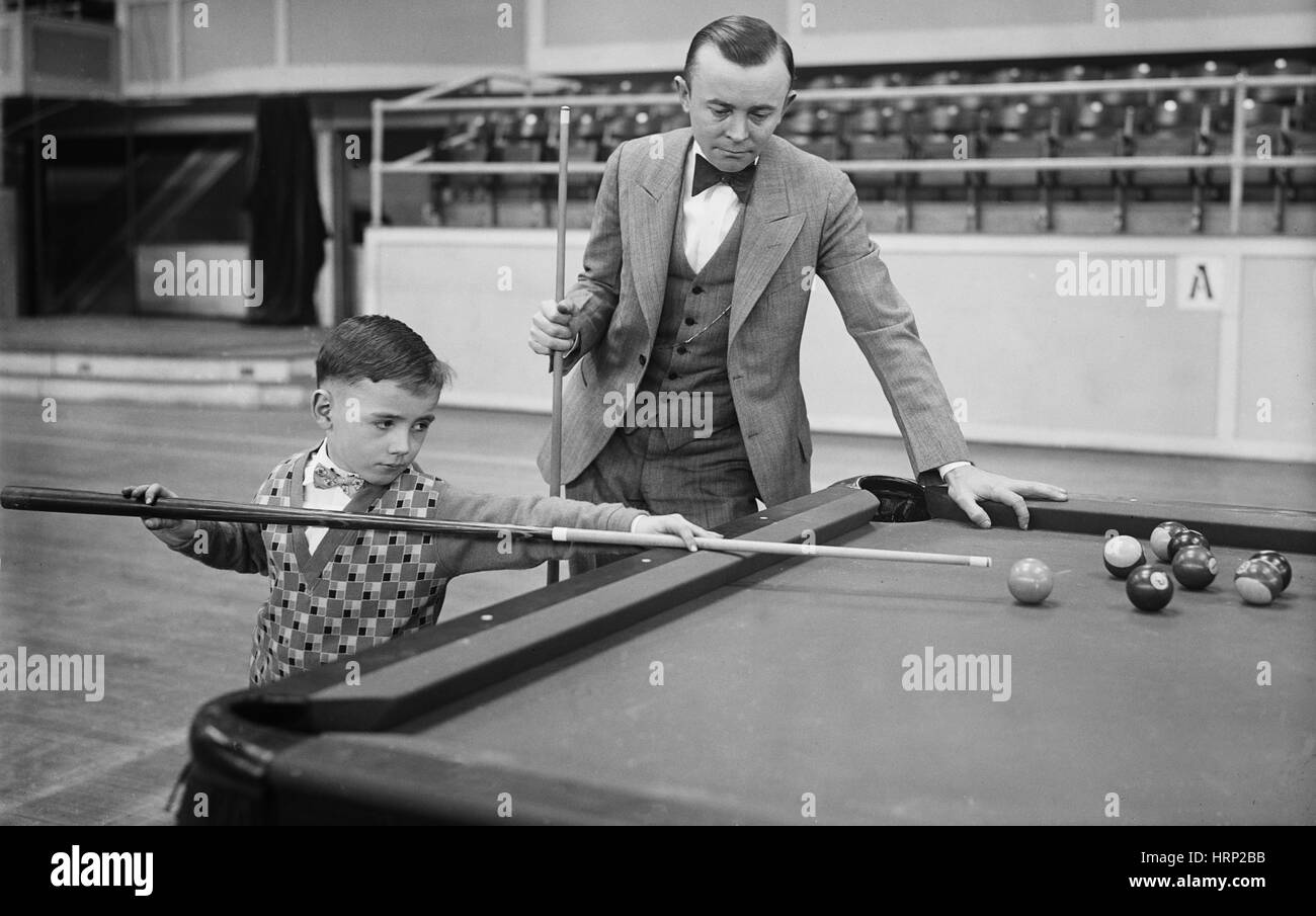 Young Pocket Billiards Wizard, 1927 - Stock Image
