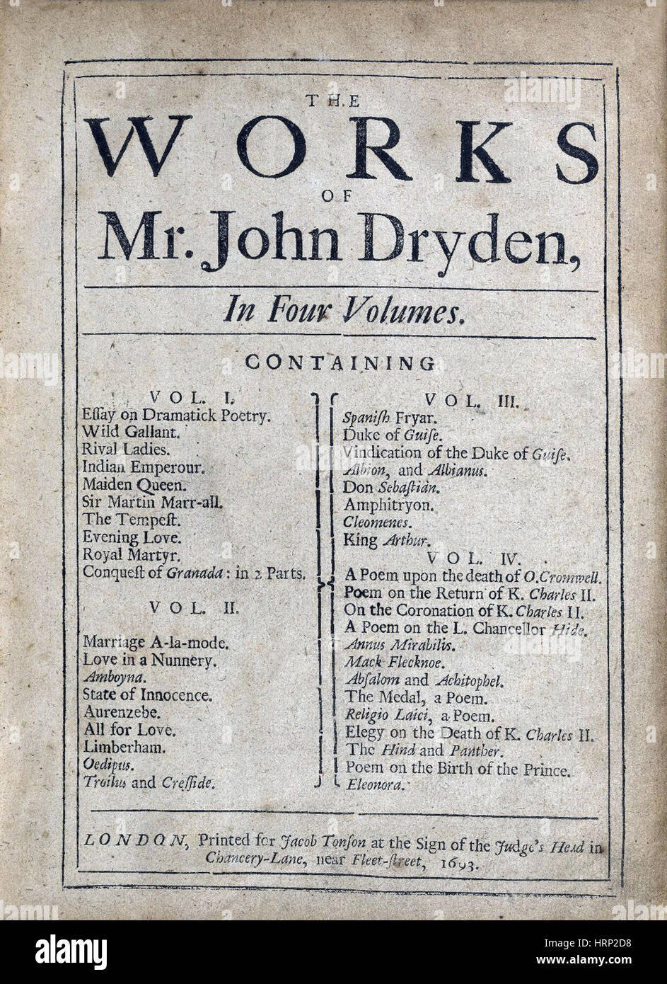 Works of John Dryden, Title Page, 1693 - Stock Image