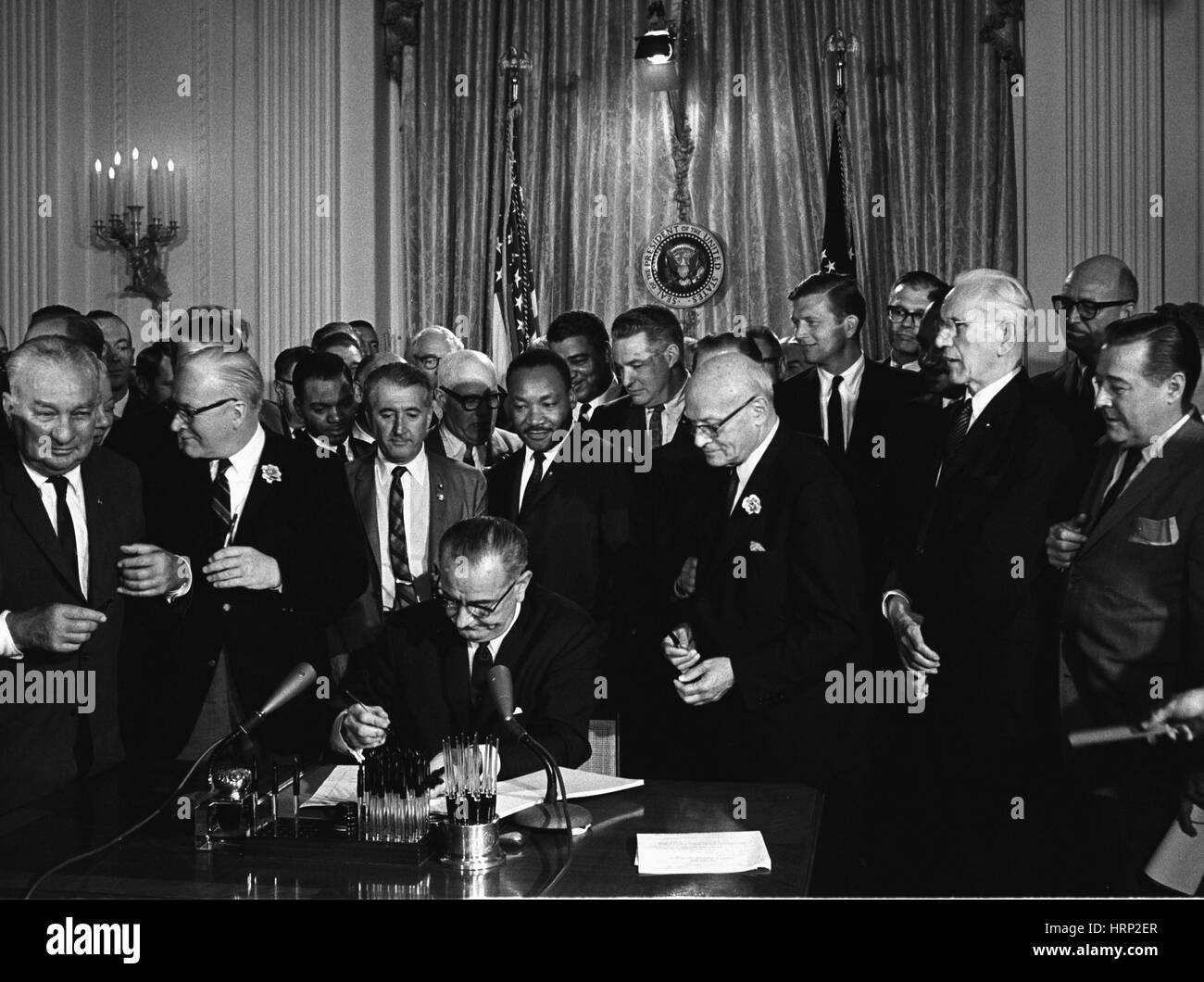 President Johnson Signs Civil Rights Act of 1964 Stock Photo