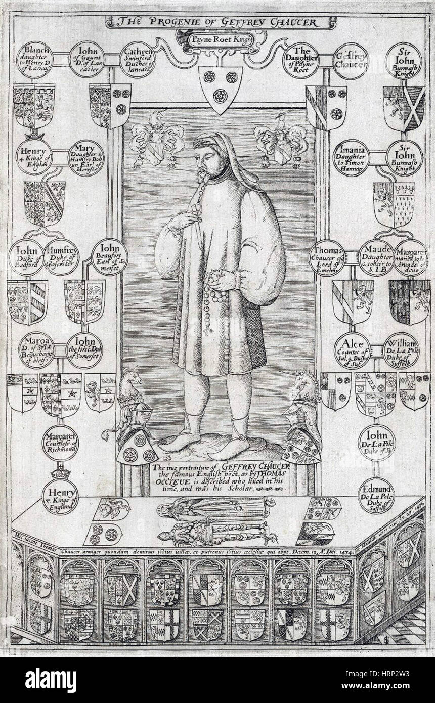 Geoffrey Chaucer, English Poet - Stock Image