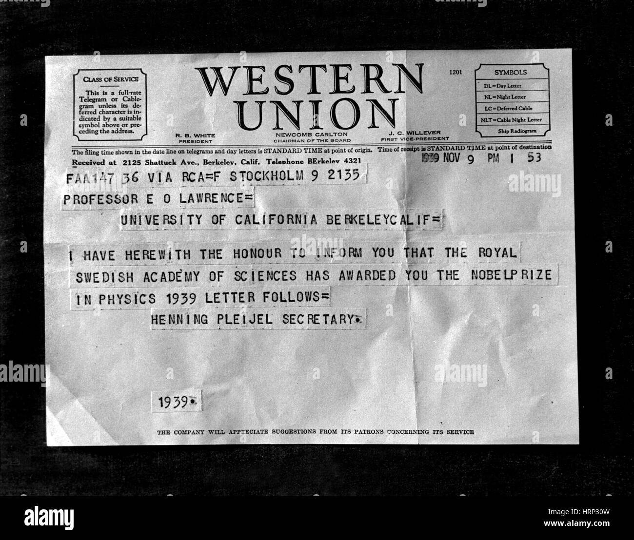 Lawrence's Nobel Prize Telegram, 1939 Stock Photo