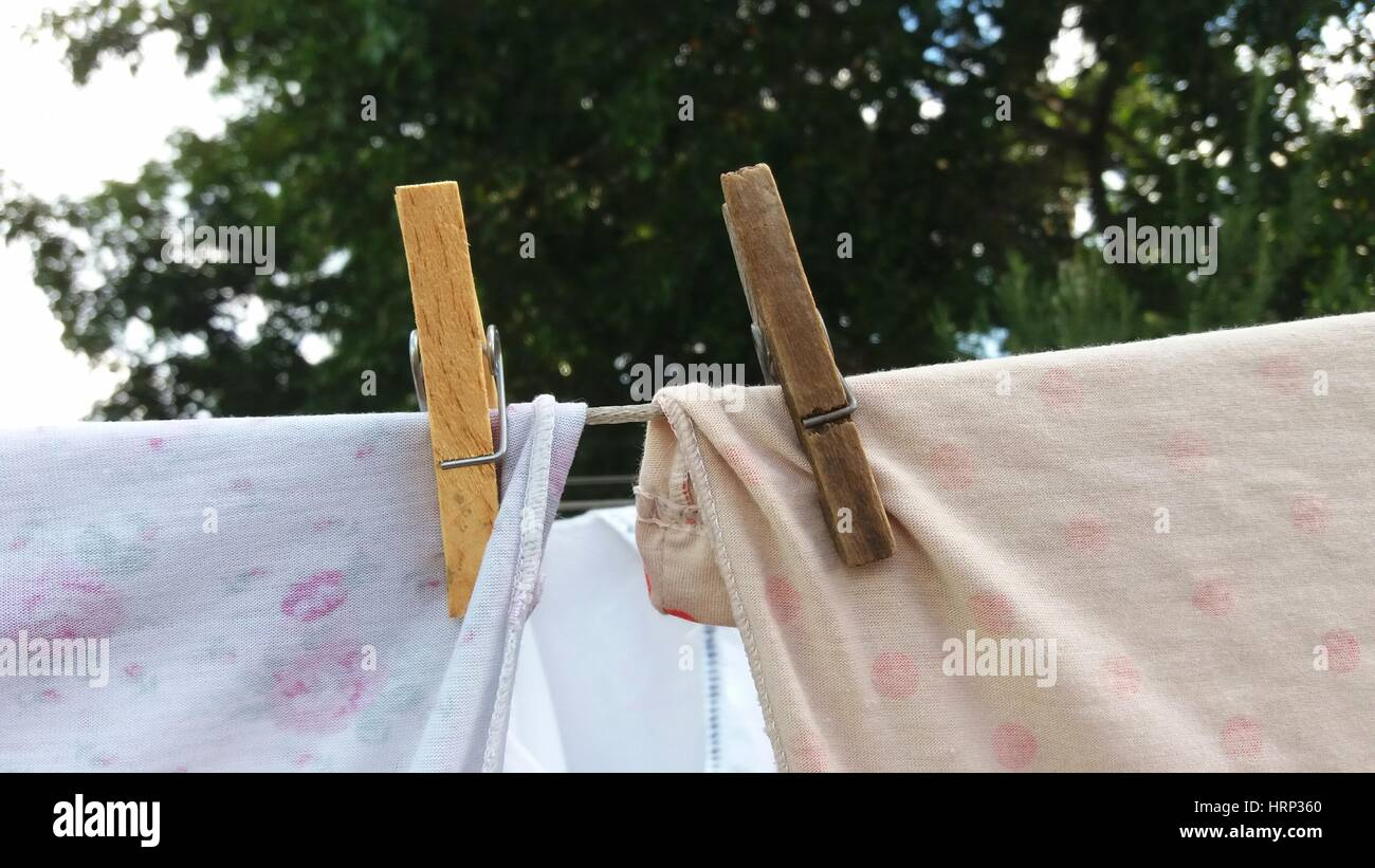 Detail of the fasteners holding the clothes on the clothesline - Stock Image