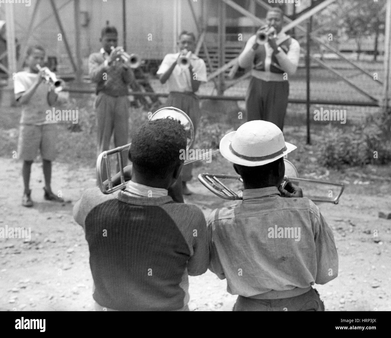 High School Band Practice, 1940 - Stock Image