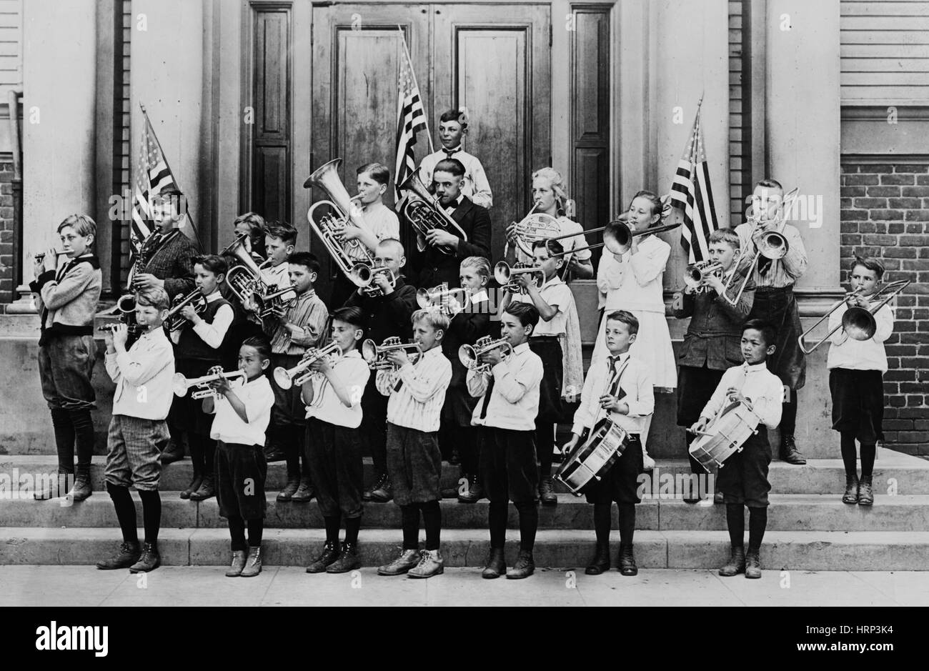 Open Air School Band, 1917 - Stock Image