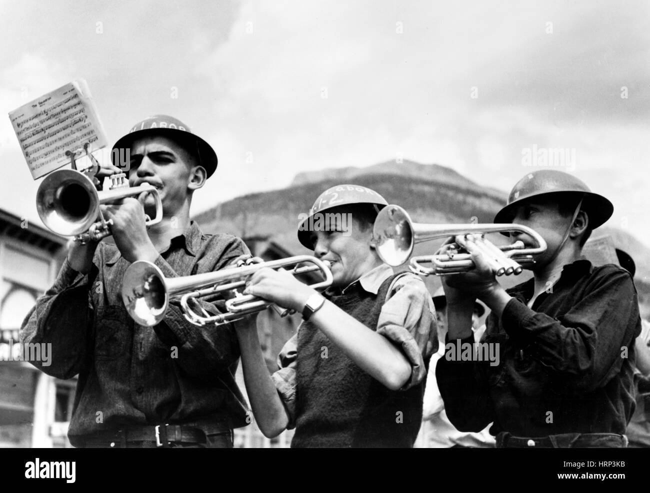 High School Band, Labor Day Celebration, 1940 - Stock Image