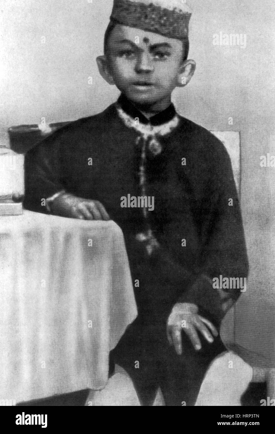 Young Gandhi, 1870s - Stock Image