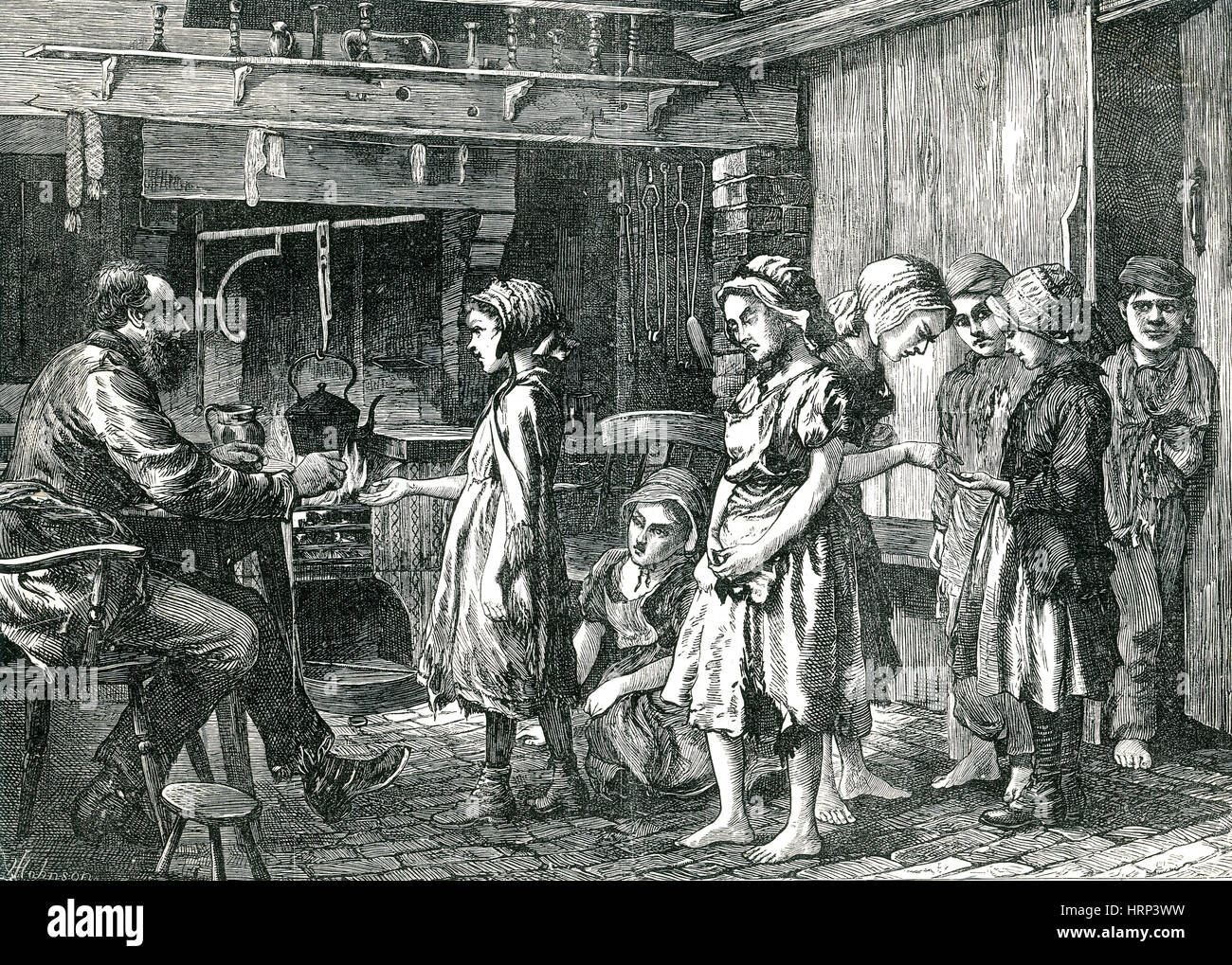 Children Receiving Wages, 1871 - Stock Image