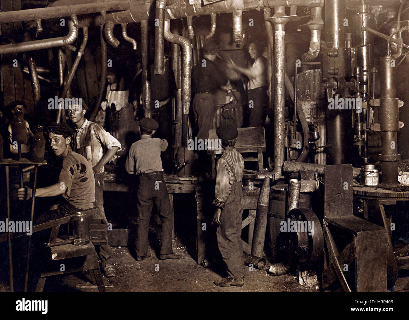 Indiana Glass Works, Boys and Men, 1908 - Stock Image