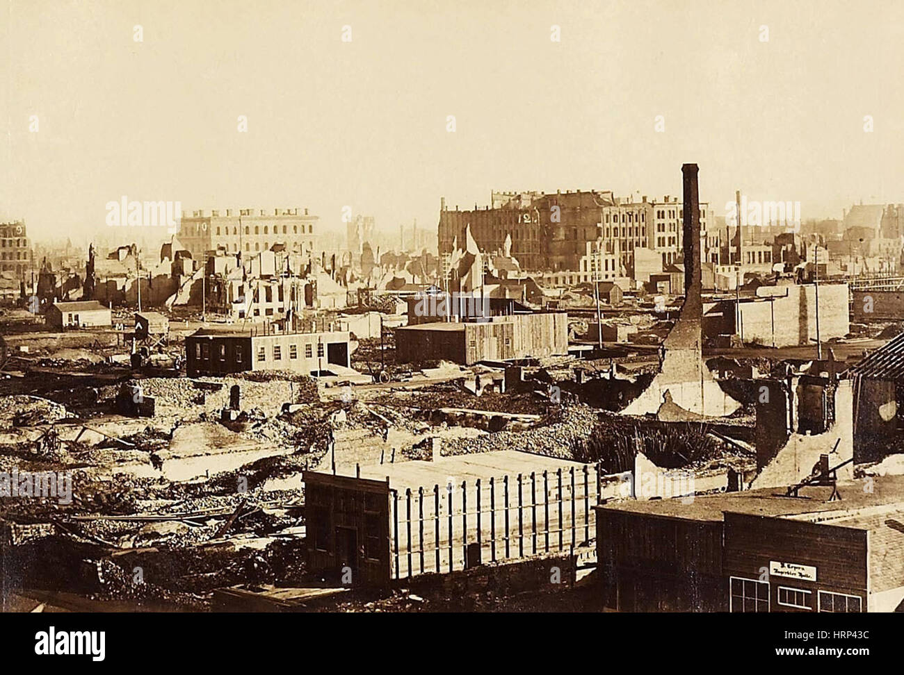 The Great Chicago Fire, 1871 - Stock Image