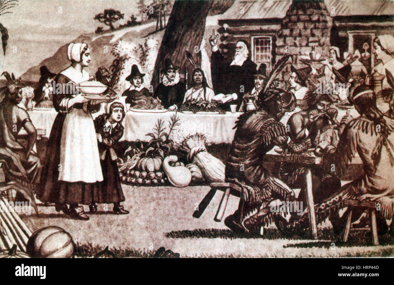 The First Thanksgiving, 1621 - Stock Image