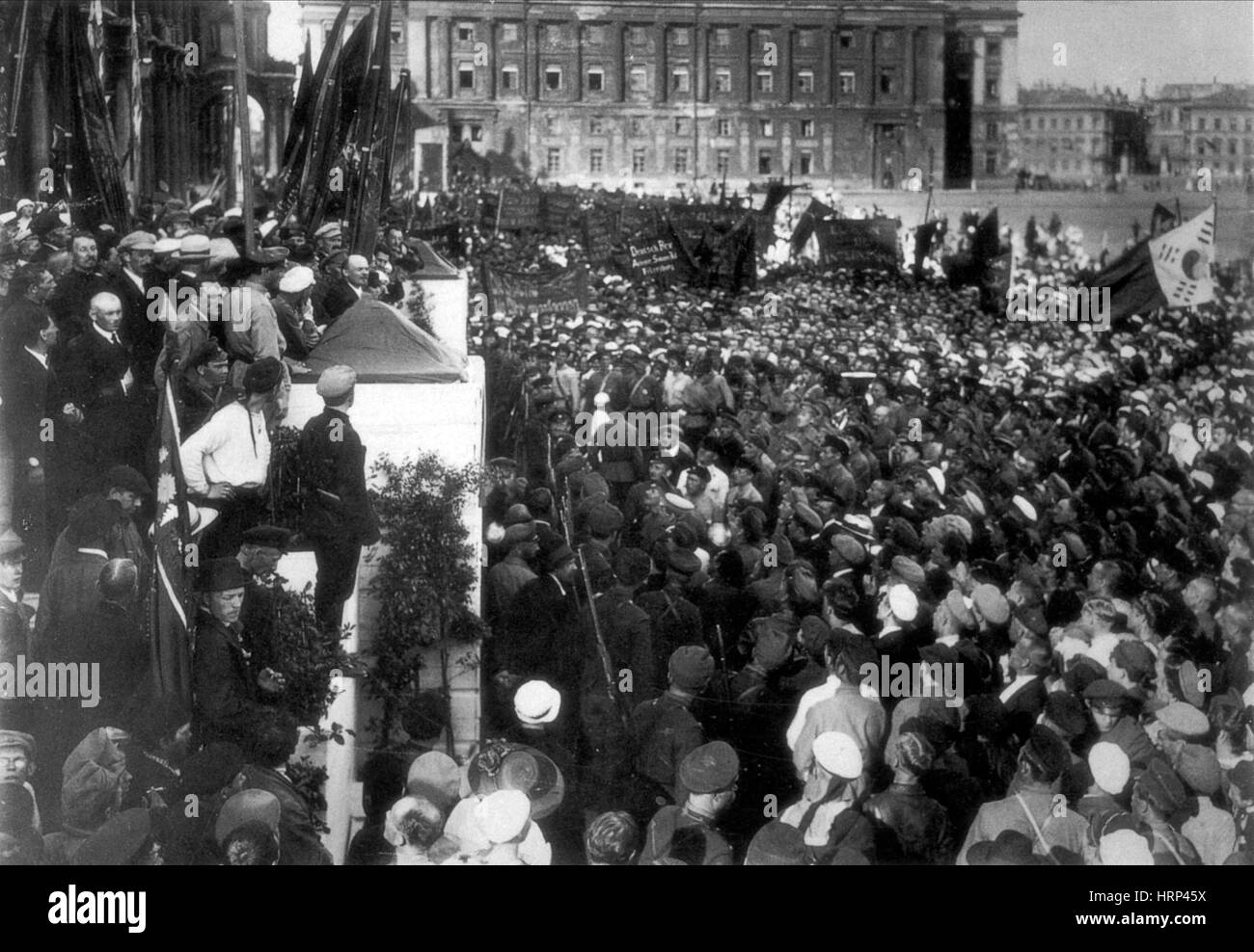 Lenin Making Speech, Dvortsovaya Square, 1920 Stock Photo