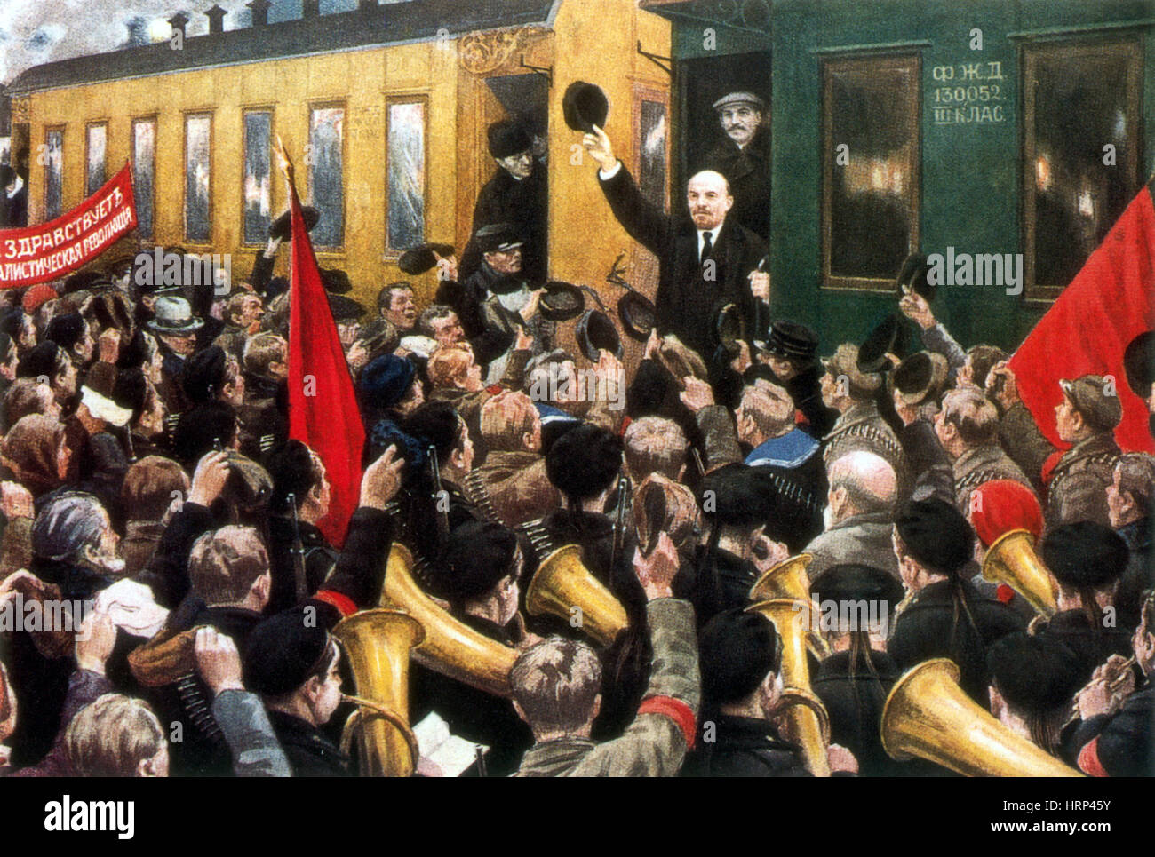 Vladimir Lenin Returns from Exile, 1917 - Stock Image
