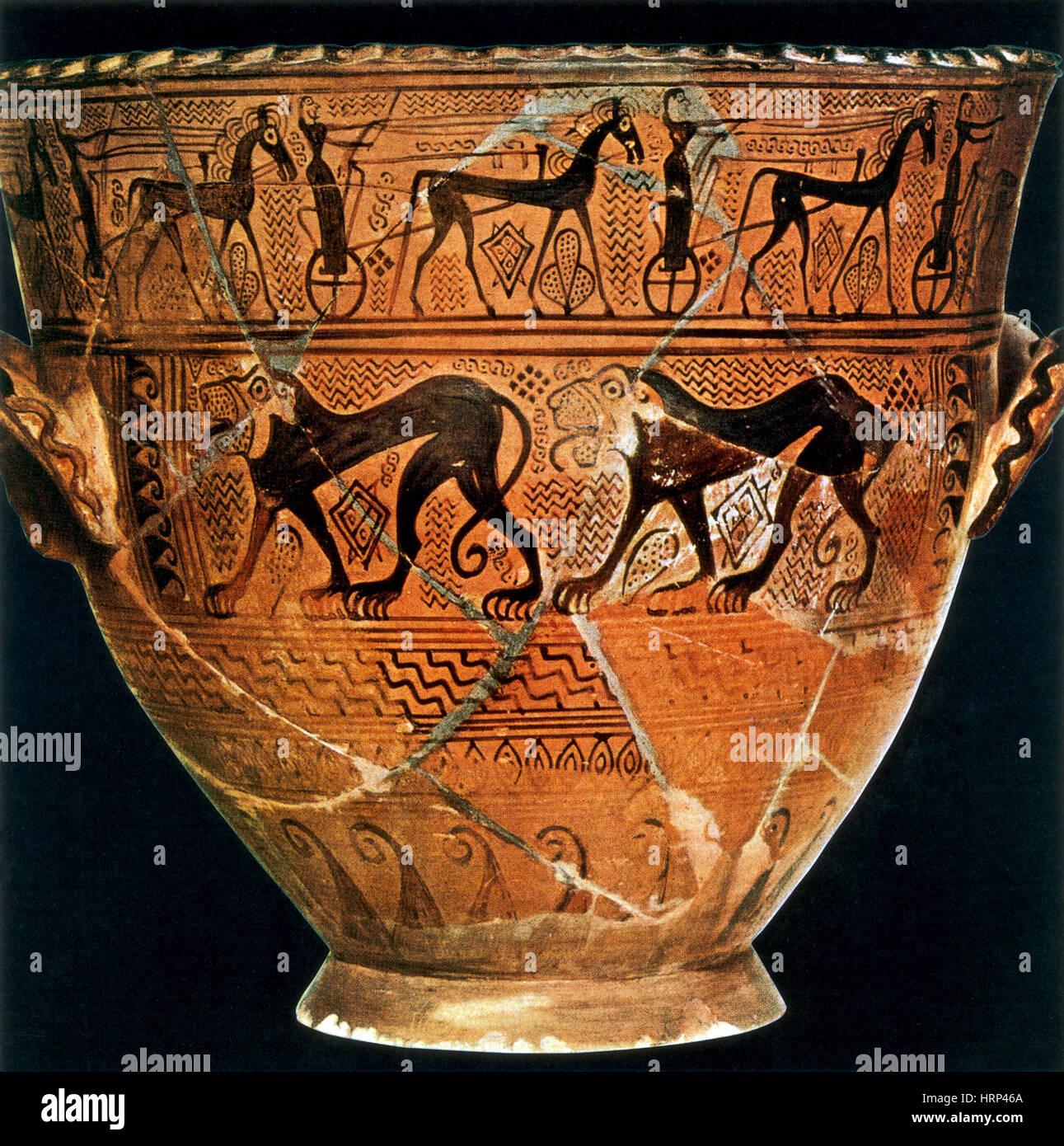Wheeled Chariot, Greek Vase, 700-675 BCE - Stock Image