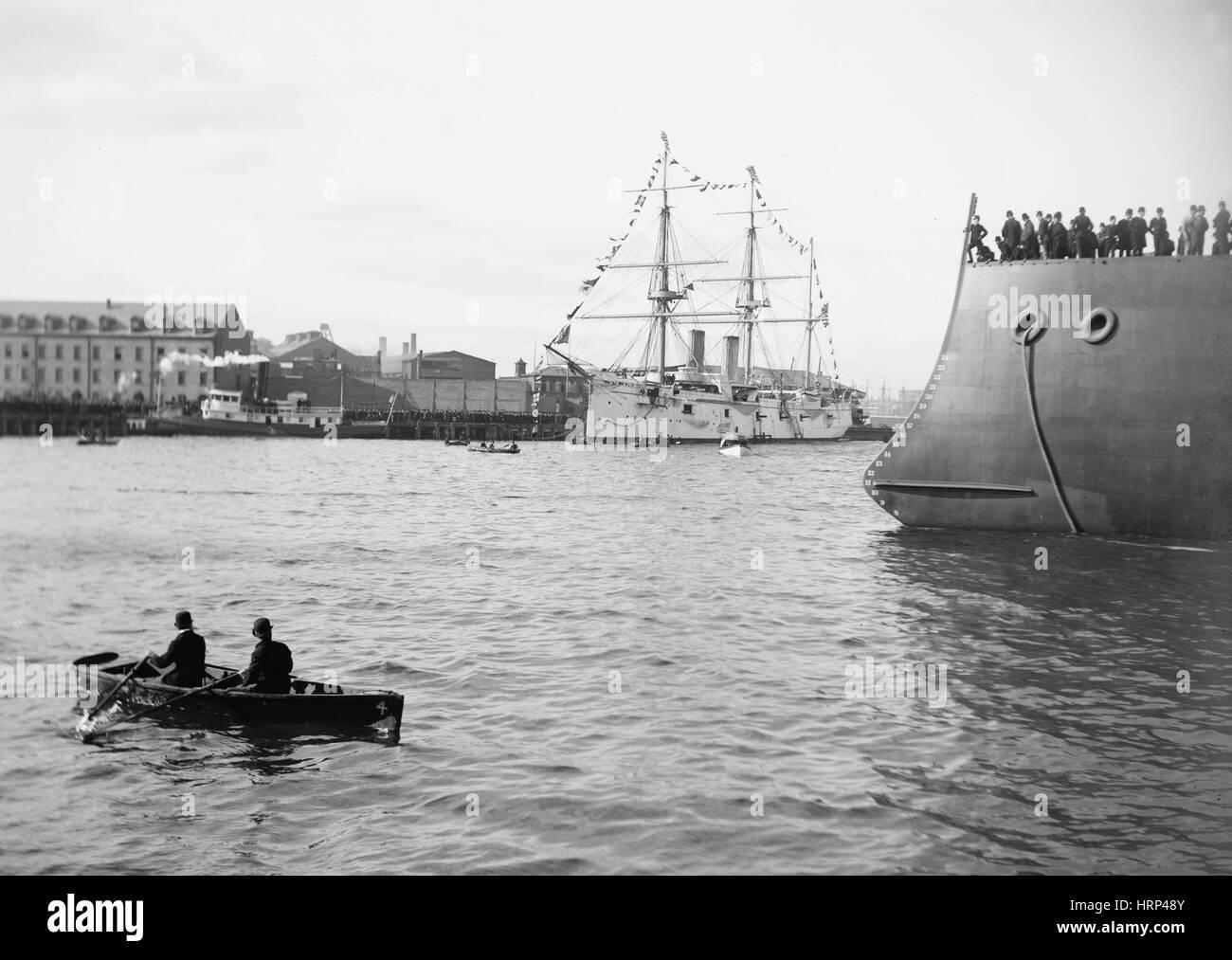 Launching of USS Maine, 1889 - Stock Image
