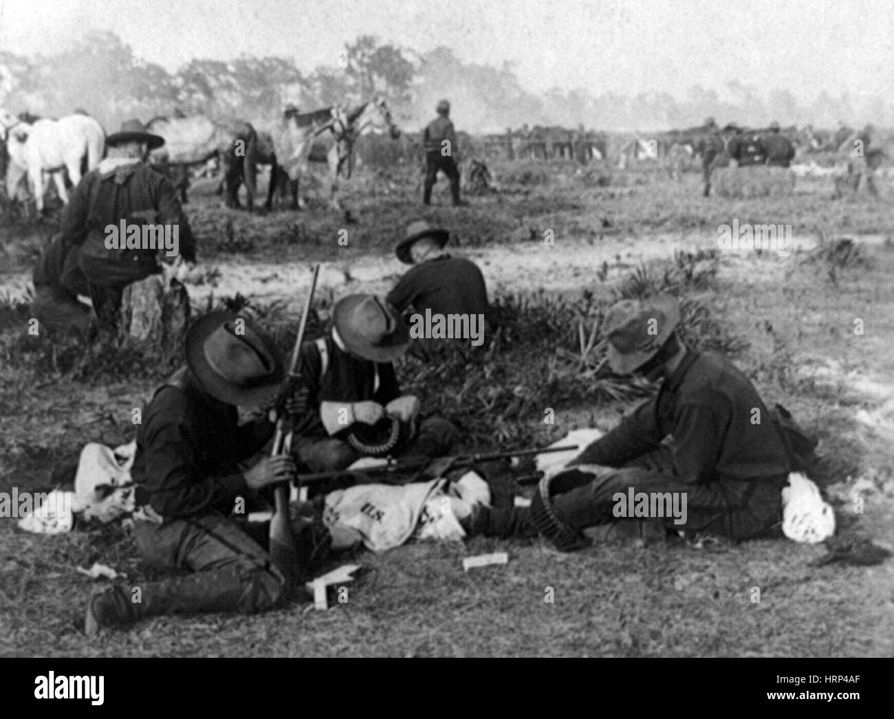 Rough Riders Gearing Up, 1898 - Stock Image