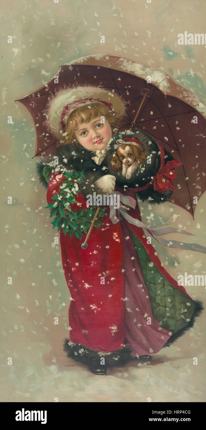 Season's Greetings, Happy Holidays, 1900 - Stock Image