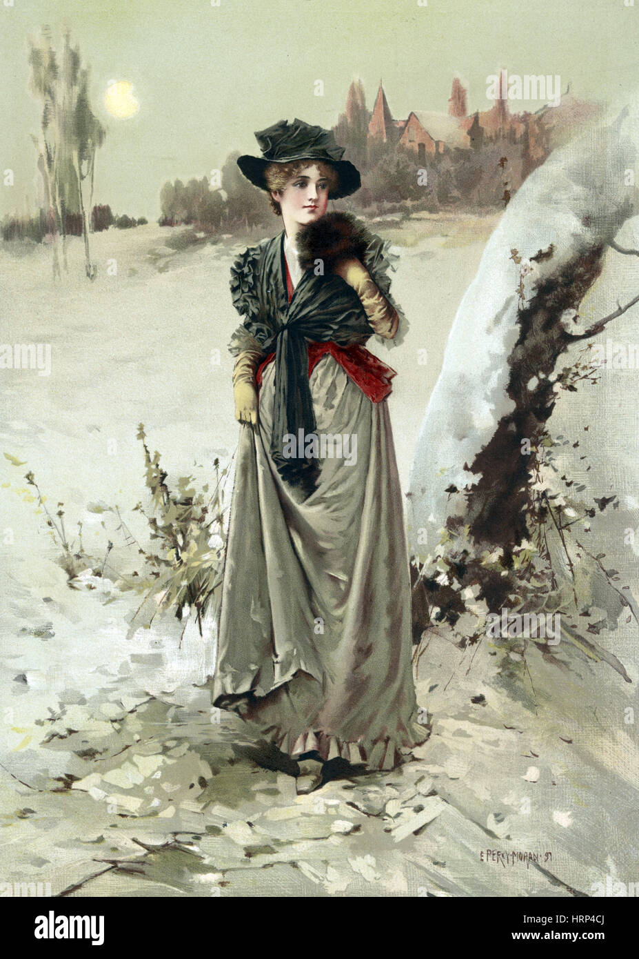 Season's Greetings, Happy Holidays, 1895 - Stock Image