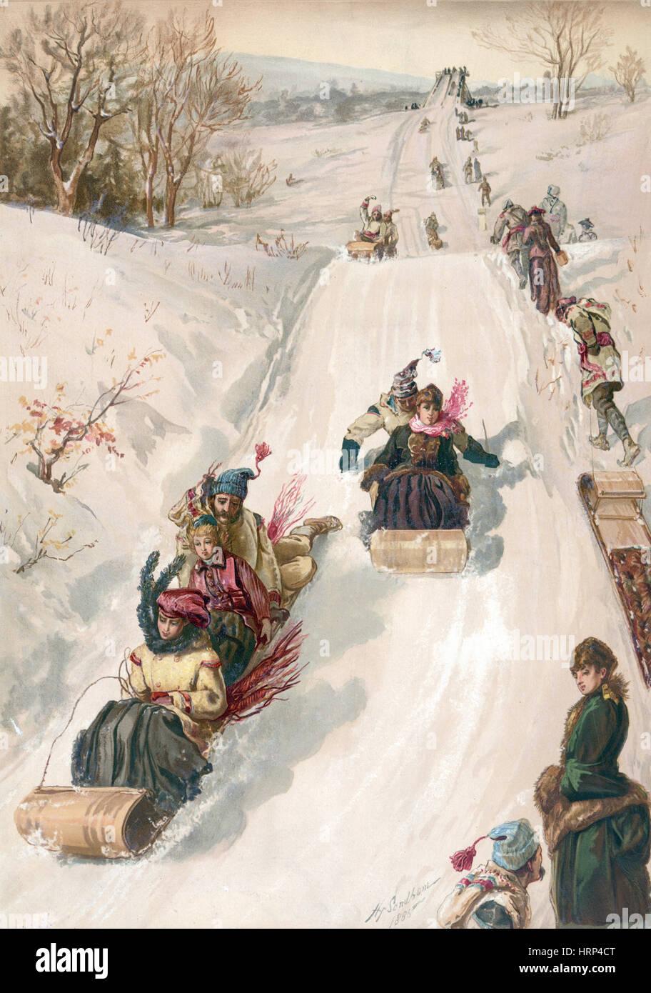 Season's Greetings, Happy Holidays, 1886 - Stock Image
