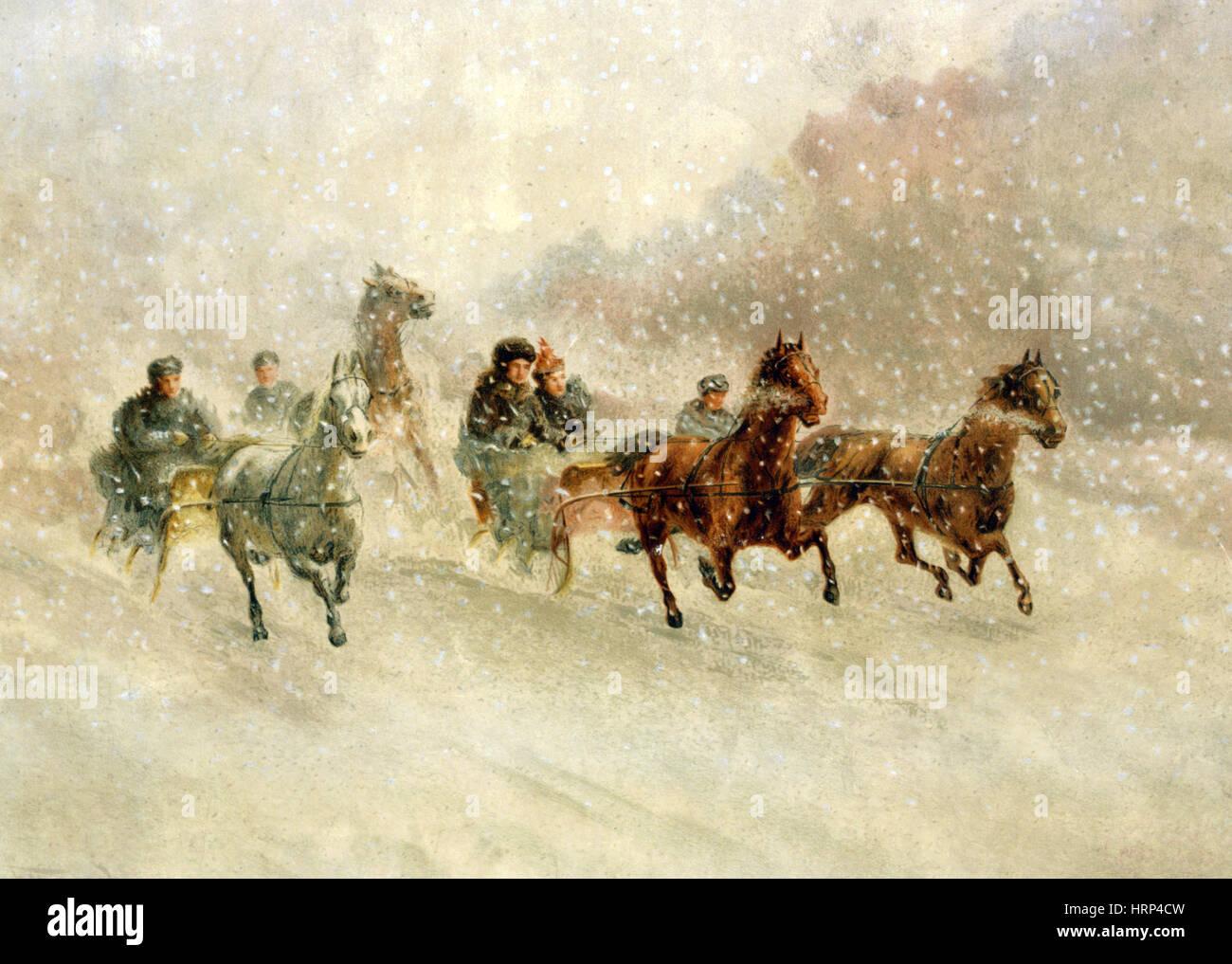 Season's Greetings, Happy Holidays, 1894 - Stock Image
