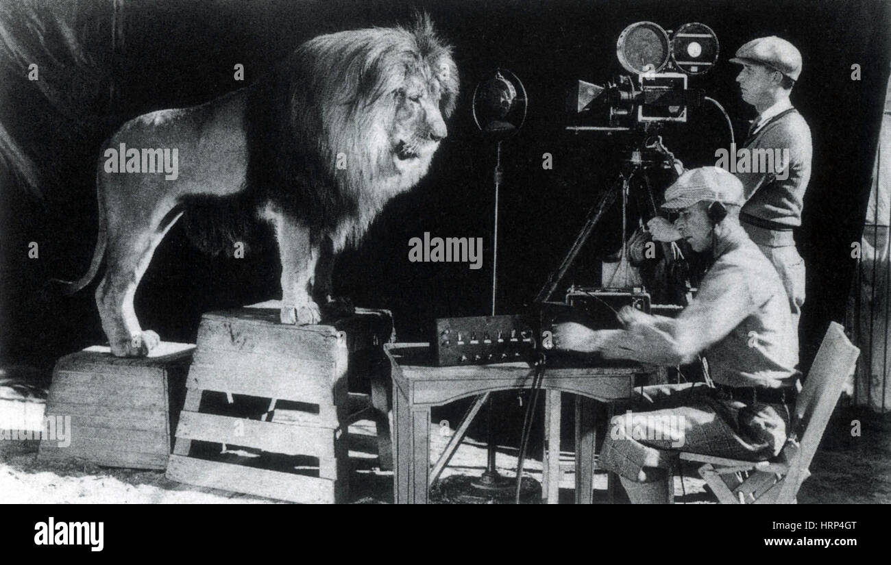 recording mgm lion roar 1928 stock photo 135096216 alamy