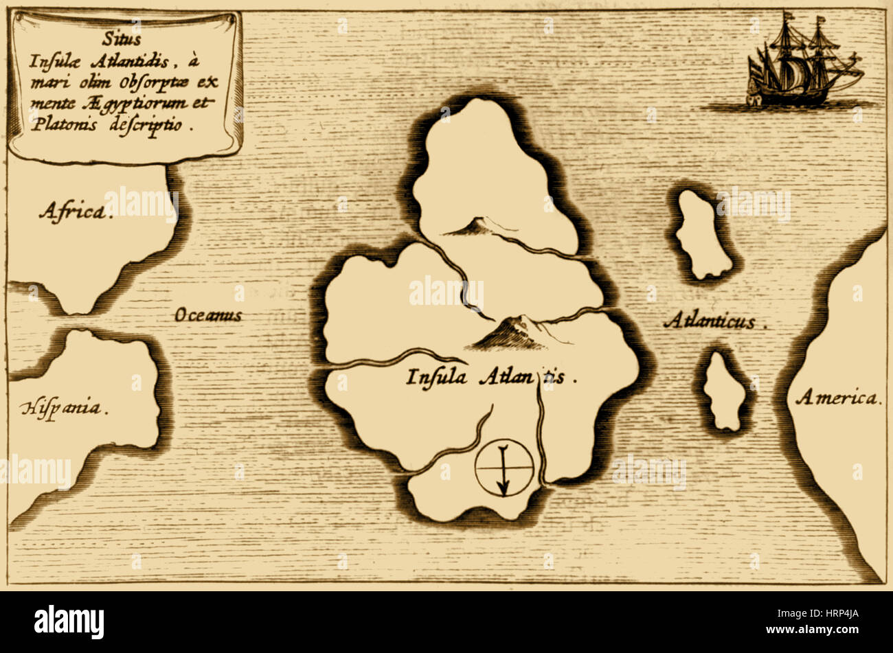 Lost Continent of Atlantis, 1665 - Stock Image