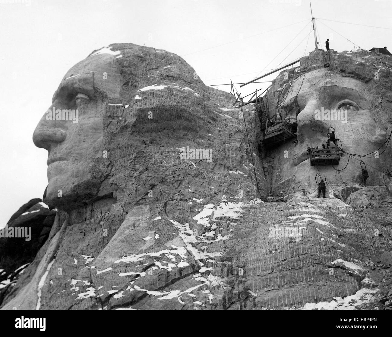 Carving Jefferson's Head, Mount Rushmore, 1930s - Stock Image