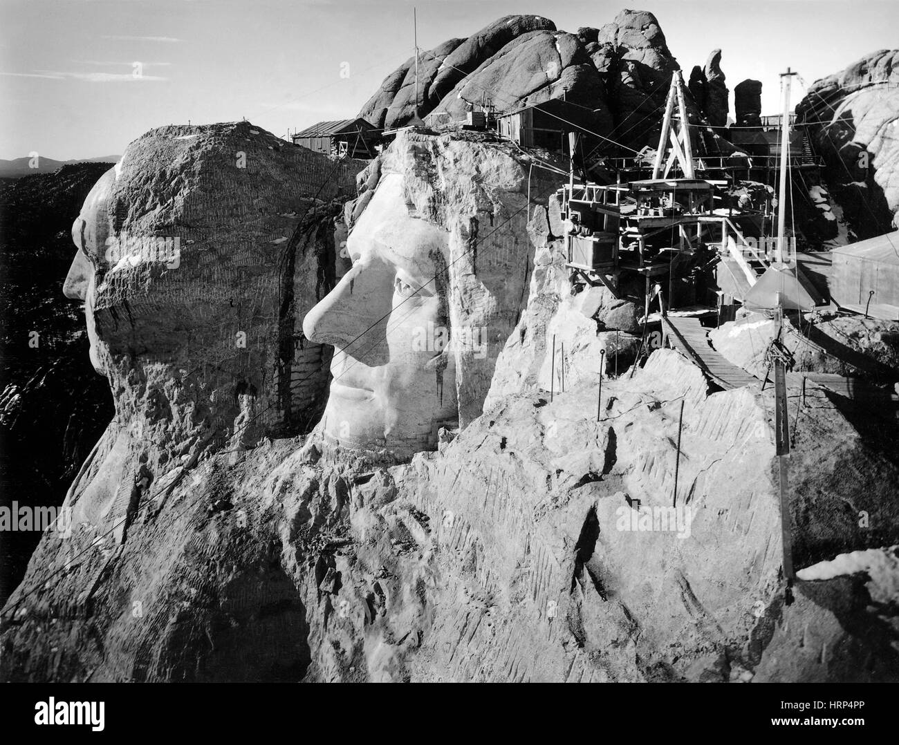 Mount Rushmore Construction Site, 1930s - Stock Image