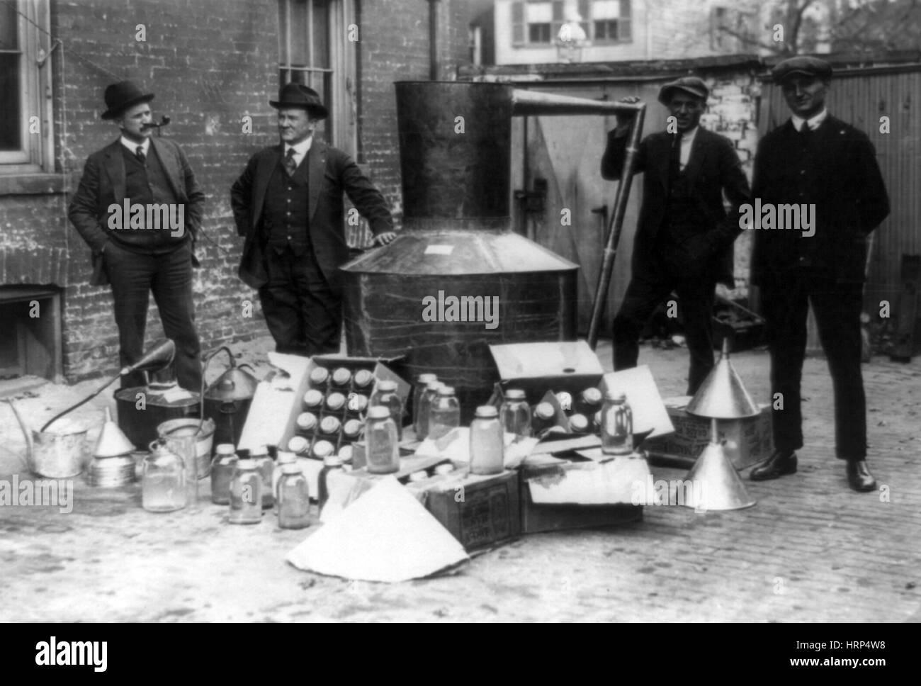 Prohibition Servicemen with Captured Still, 1922 - Stock Image