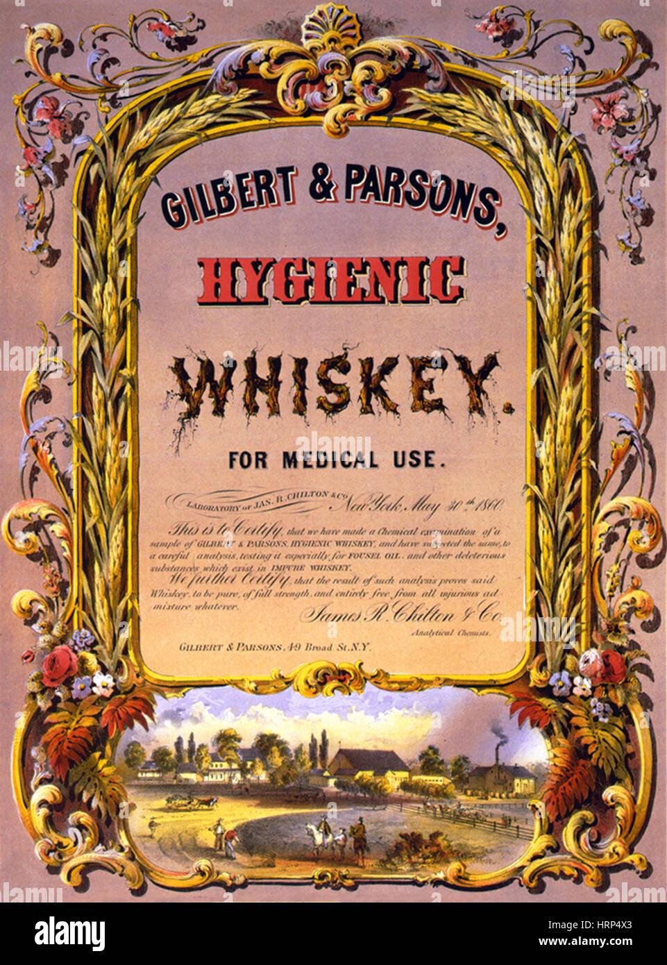 Hygienic Whiskey, Medicinal Alcohol, 1860s - Stock Image