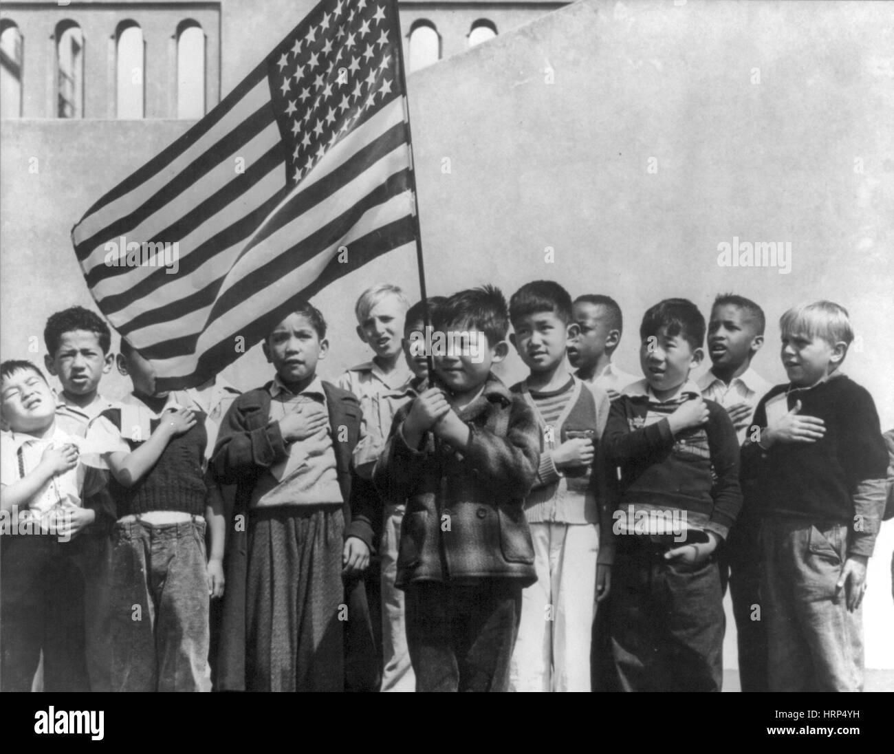 Pledge of Allegiance, 1942 - Stock Image