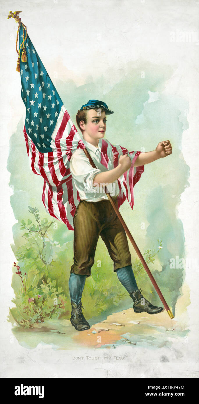 American Civil War, 'Don't Touch My Flag!' - Stock Image