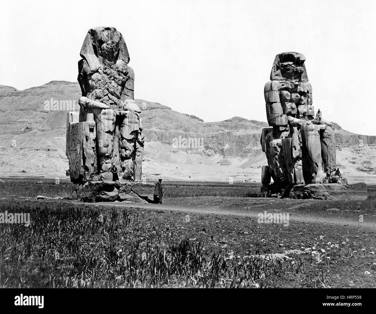 Colossi of Memnon, Valley of the Kings, 1870s - Stock Image