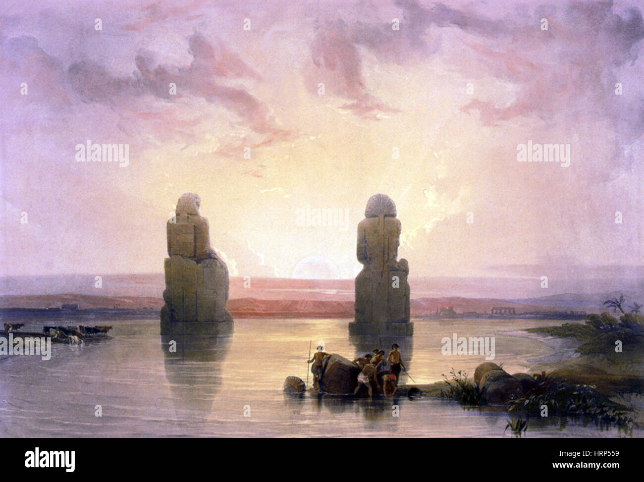 Colossi of Memnon, Valley of the Kings, 1830s - Stock Image